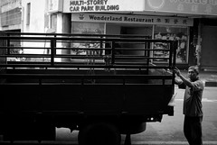 Day 105/366: A Mover (clazirus) Tags: street old bw white black truck 35mm nikon lorry bnw d60 komtar project365 unohu clazirus
