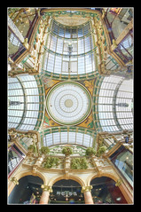 Looking up in Leeds (SFB579 :)) Tags: old roof light building glass colors metal stone architecture shopping day pentax leeds victorian hdr samyag