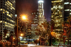 sleepless in la (Kris Kros) Tags: skyscraper buildings lights evening la los high long exposure downtown shot streak angeles touch trail kris tall rise hdr kk kkg nigh sleepless 3xp photomatix kros kriskros kkgallery