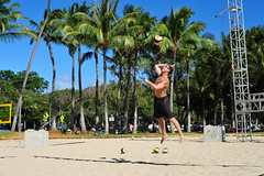 Jump Float (Chris Hunkeler) Tags: trees shirtless male men beach sports muscles neck jump outdoor palm volleyball athletes shoulder fit bicep taut