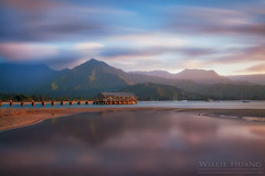 Hanalei Dreaming (Willie Huang Photo) Tags: longexposure sunset seascape nature landscape island hawaii pier paradise waves pacific scenic kauai tropical hanalei hanaleibay