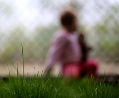 Chain Link Magic (Philocycler) Tags: pink light chicago grass fence toddler bokeh grantpark magical dreamorreality bokehtoddler bokehfigure