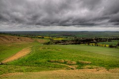 Vale of White Horse (Tony Shertila) Tags: england sculpture rain weather chalk carved ancient europe day tour cloudy britain hill vista stgeorge oxfordshire hdr whitehorse bronzeage neolithic uffington prehistory dragonhill valeofwhitehorse stgeorgeandthedragon yahooweather riverockhdr
