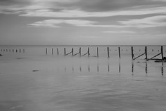 Dashes (mussy5) Tags: longexposure sea sky blackandwhite reflection beach water skyline clouds coast kent infrared seafront groyne folkestone canonef24105mmf4lisusm canon550d smusgrove2012