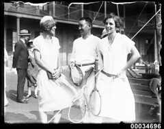 Entertaining visiting Japanese naval officers at a tennis party at Victoria Barracks, 26 January 1924