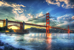 golden gate bridge turns 75 (Kris Kros) Tags: world sf california birthday ca bridge sunset sun point happy golden twilight bravo gate san francisco you fort famous touch may landmark icon kris rays 27 legend beams hdr 75th kk agora frisco kkg 2012 photomatix kros kriskros 5xp innamoramento kkgallery