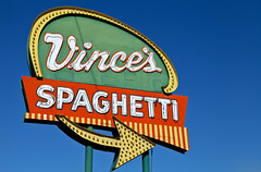 Vince's Spaghetti (TooMuchFire) Tags: signs ontario neon signage canon5d roadsideamerica neonsigns lightroom arrowsigns oldsigns vintagesigns vintageneonsigns americansigns vincesspaghetti ontariosigns toomuchfire 1206wholdblvdontarioca