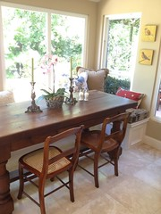 "This old kitchen farm table looks out to the back yard • <a style=""font-size:0.8em;"" href=""http://www.flickr.com/photos/79686536@N02/7310263852/"" target=""_blank"">View on Flickr</a>"