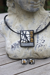 Handmade Jewellery Set- Elegant Rectangle Black, White and Gold Necklace and Earrings (Morticia's Shop) Tags: white black leather square gold necklace leaf stripes jewellery clay gloss accessories earrings pendant varnish polymer caning