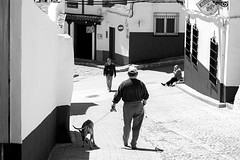 Seor y su perro (Fernriz Rochester) Tags: plaza people bw dog black blanco blackwhite nikon gente negro bn wait novato amateur molinos blanconegro mancha aprender paseos criptana aprendiendo monocromtico d3300