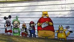 Graffiti disney (dorismonsalve) Tags: street boys de mouse graffiti fighter disney mickey pooh pikachu walt asterix agresive dispy winniei