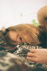 one auto per day (vienakarta) Tags: auto film girl 35mm hair bed sheets blonde