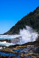 Explode (Aaron Fredericy) Tags: ocean sun water rock oregon forest river coast movement stream waves pacific northwest crash wave national cooks basalt chasm