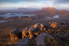 Stac Pollaidh Summit (Phil Walker Photo) Tags: sunset panorama outcrop reflecting golden highlands rocks view lakes dramatic scottish peak drop moutains lochs rockformations lastlight ullapool stacpollaidh assynt mountainous zenlike