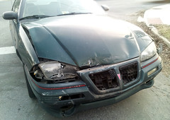20150319 - Carolyn's car accident - smashed up Grand Am - front view - (by Carolyn) - 080244 (Rev. Xanatos Satanicos Bombasticos (ClintJCL)) Tags: light car maryland grill dent vehicle hood headlight smashed 1994 silverspring dents caraccident totaled carhood 2015 pontiacgrandam camerapersoncarolyn pontiacgrandamcar pontiacgrandam1994 pontiacgrandam1994car 201503 20150319 caraccident20150319