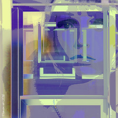 Ever decreasing windows (Lemon~art) Tags: windows colour green mannequin face lines square frames purple geometry manipulation lilac mauve layers rectangle