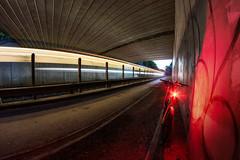 Under Traffic (Rob Pitt) Tags: new bridge blue light night train painting photo long exposure flickr cheshire trails hour 8mm railings wirral m56 samyang capenhurst 750d
