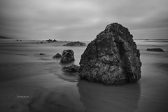 (rainbow wasabi) Tags: ocean blackandwhite seascape beach nature monochrome oregon landscape coast rocks pacific northwest cloudy humid