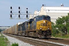 Baltimore 2016 CSXT 945 Q296 Autorack Train (wheeltoyz) Tags: city train harbor md maryland crab charm baltimore inner locomotive bo ge freight orioles 945 csx carrol q296