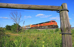 Perfect Picture Frame (Conductor Cronk) Tags: railroad trees sunset orange beautiful landscape wooden illinois afternoon post farm railway ground pasture frame bnsf locomotives feild prarie es44ac