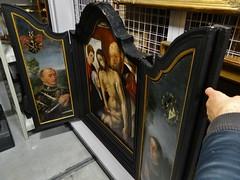 1567 - 'Descent from the Cross with donors knight Jan (Johan) van den Tympel (Tymple, Tempel) (+1576) and Johanna (Jeanne) de Mol (Mols) (+1565)', Leuven, reserve collection, M - Museum Leuven, province of Flemish Brabant, Belgium (roelipilami) Tags: 1567 1565 1576 descent from cross kruisafneming kreuzabnahme descente de croix descendimiento jess donors donateurs opdrachtgevers knight ritter chevalier ridder caballero jan johan jean vanden van den tempel tympel tymple timpel johanna jeanne mols mol leuven louvain triptych triptiek flemish brabant depot reserve collection m museum lovaina tabbard tabbert tabard chain lion heraldry armour armor christ renaissance