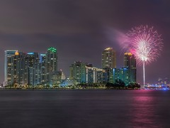 July 4th (karinavera) Tags: city longexposure travel urban panorama night cityscape fireworks miami 74 nikond5300