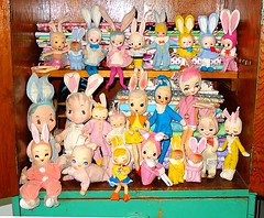 Pose Doll Bunnies (DollyBeMine) Tags: old cute rabbit bunny bunnies japan vintage easter toy japanese mod colorful doll display decoration kitsch pixie collection bradley 1950s kawaii 1960s kitschy knee decor bigeye hugger bigeyed posedoll poseable