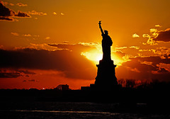 Staten Island Ferry - Lady Liberty (Bob Jagendorf) Tags: sunset sun newyork statue ferry night boat ship hudson statueofliberty statenisland