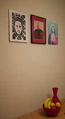 inappropriate portrait triptych (Sonia.Harris) Tags: red portrait fruit table mary jesus vase patrickstewart jeanlucpicard samharris