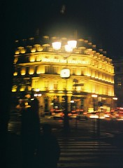 Hotel Du Louvre, by J L Sinclair (Jelausin) Tags: street paris film silhouette architecture night 35mm photography spring minolta documentary