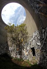 Sowat, Lek, Seth & Dem189 (Chrixcel) Tags: tree book seth lca tag fisheye graff dmv arbre livre fresco circular lek fresque mausolée friche vanités sowat dem189 abandonedround