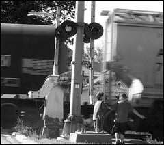 Boys By The Tracks: Taken Out The Window With The Itty Bitty (Sue90ca Flick*r Is Flick*ring Again) Tags: light boys train sony tracks ps dscp93a portraitvn boysbythetraintracks