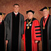 Honorary degree recipient David H. Murdock (l), NFL All-Star & Wolfpack legendary quarterback Philip Rivers, Chancellor Randy Woodson and honorary degree recipient Bob Jordan (r).