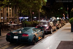 They're coming!!! (U-Jack) Tags: auto paris car 30 night canon eos grey italian nightshot f14 14 sigma v arab lp guillaume lamborghini georges supercar sv spotting murcielago sighting sportcar 30mm 500d 6704 grise hsm ujack worldcars fougl