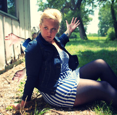 day 029. (H o l l y.) Tags: summer selfportrait green sunshine tattoo hands do arms jean bright time stripes lawn sunny tights more jacket blonde had wish i 100daysofsummer