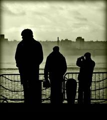 Spectators, River Mersey (ronramstew) Tags: people monochrome silhouette fog liverpool river walk bank spectators 1001nights figures mersey landingstage merseyside 2011 flickraward 2010s bestcapturesaoi 1001nightsmagiccity mygearandme
