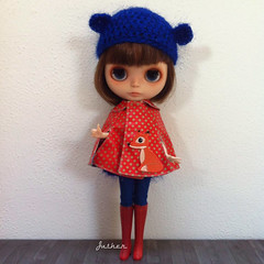 Janne (Juther) Tags: blue red color cute love girl face bigeyes carved doll dolls factory dress colorfull coat faceplate carving fox cape littlegirl blythe freckles brunette dots custom cutest bearhat blythedoll customblythe faceup blythedolls customdoll littlelady factorygirl littlemissperfect blythecustom customgirl blytheaday factorycustom houseofdaisies