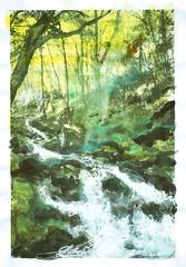 Absynthe creek (Marjarah) Tags: green forest watercolor mixedmedia