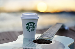 misty morning haiku (Laurarama) Tags: coffee dof haiku guitar depthoffield starbucks clich 52weeks picandpoem hereios