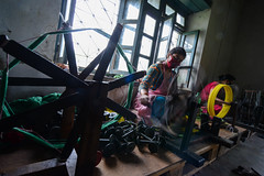 The Circle of Fabric (www.WeAreHum.org) Tags: wood school nepal feet for women mechanical arts textile gandhi kathmandu winds weaving loom ashram tulsi threads shuttles bobbins sowing