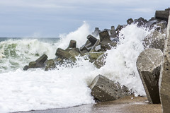 Waves crashing on groyne (G. Warrink) Tags: sea beach water denmark concrete coast sand waves wave shore northsea groyne thyborn