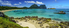 Lord Howe panorama (NettyA) Tags: blue panorama beach water island sand rocks aqua pano australia lookout clear nsw day8 unescoworldheritage lordhoweisland thelagoon 2016 lhi mtgower mtlidgbird sonya7r janetteasche lordhoweforclimate