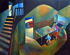 Childhood house 1-1 (Fernando A. Charro) Tags: portrait house art home childhood horizontal illustration painting naked colorful artist artistic drawing contemporary surrealism tricycle fineart memories daughter mother figure oil expressionism expressionist land dali metaphor oilpainting familyroom realism realistic chirico