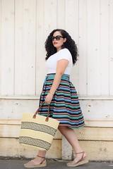 For the Love of Stripes (GirlWithCurves) Tags: curlyhair plussizefashion stripeskirt girlwithcurves plussizeblogger taneshaawasthi