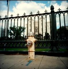 78120003-002 (wizowel) Tags: film mediumformat louisiana pinhole firehydrant batonrouge 2016 wppd portra400 120rollfilm holgapc