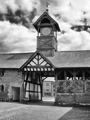 Arley Hall Coach Gate Mono (foggyray90) Tags: warrington cheshire outdoor monochrome courtyard gateway clocktower clock arleyhall
