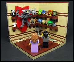 ...And this is my trophy room... (Karf Oohlu) Tags: lego moc minifig vignette trophy trophyroom head heads mountedhead cat teddybear wallmount shelves shelf room