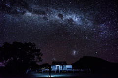 Mt Maroon, the farmhouse and I under the Milky Way (NettyA) Tags: winter tree silhouette night farmhouse stars person nightscape australia astrophotography qld queensland milkyway cotswold 2016 mtmaroon seqld sonya7r
