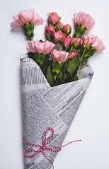 DSC_1159-1 (den_ise11) Tags: flowers roses flower beauty leaves photography gold newspaper leaf petals flat natural stripes style petal scissors ribbon bouquet product leafy