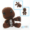 Sackboy, from Little Big Planet. Crochet Amigurumi Plush Doll (Cyan Rose Creations) Tags: brown black game love rose toy idea hands perfect doll buttons glue crochet gray cyan felt plush yarn gift figure zipper amigurumi playstation creations polyfil littlebigplanet sackboy cyanrosecreations